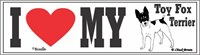 Toy Fox Terrier Bumper Sticker I Love My