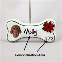 Vizsla Personalized Dog Bone Christmas Ornament