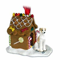 Whippet Gingerbread House Christmas Ornament Tan-White