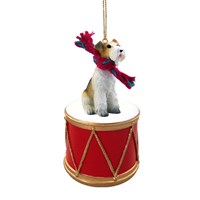 Wire Fox Terrier Little Drummer Christmas Ornament