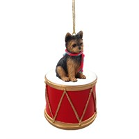 Yorkshire Terrier Puppy Cut Little Drummer Christmas Ornament