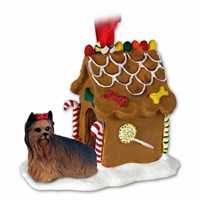 Yorkie Christmas Ornament Gingerbread House