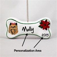 Yorkshire Terrier Personalized Dog Bone Christmas Ornament