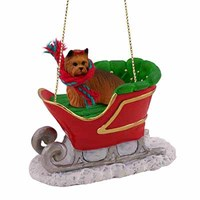 Yorkie Christmas Ornament Sleigh Ride