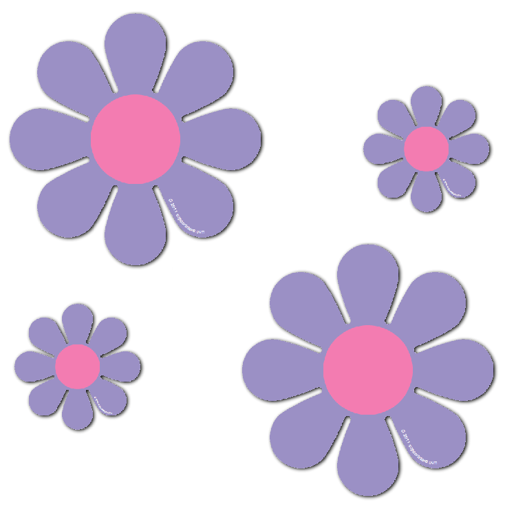 """Magnetic Daisies - Purple - Set of 4 (2 - 4.5"""" and 2 - 9"""")"""