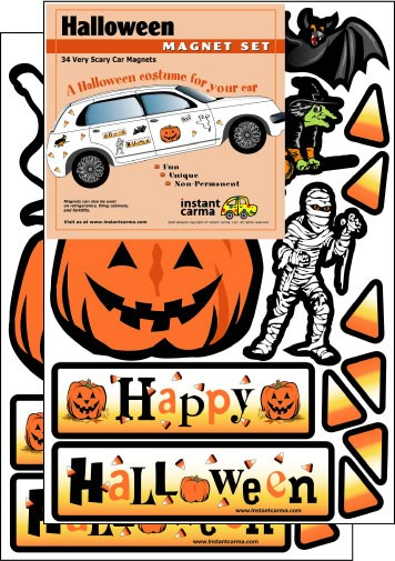"""A """"Halloween costume for your car"""" Magnet Set"""