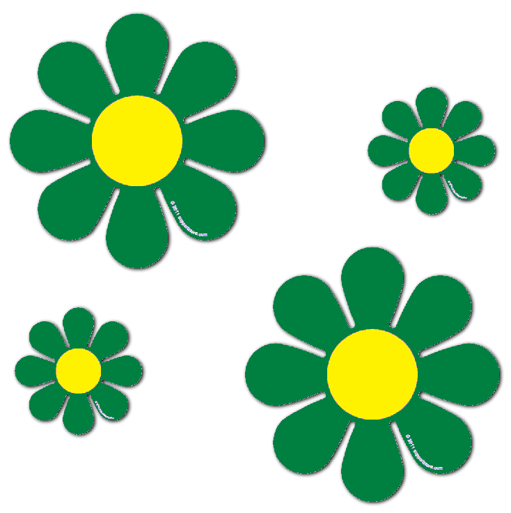 """Magnetic Daisies - Green - Set of 4 (2 - 4.5"""" and 2 - 9"""")"""