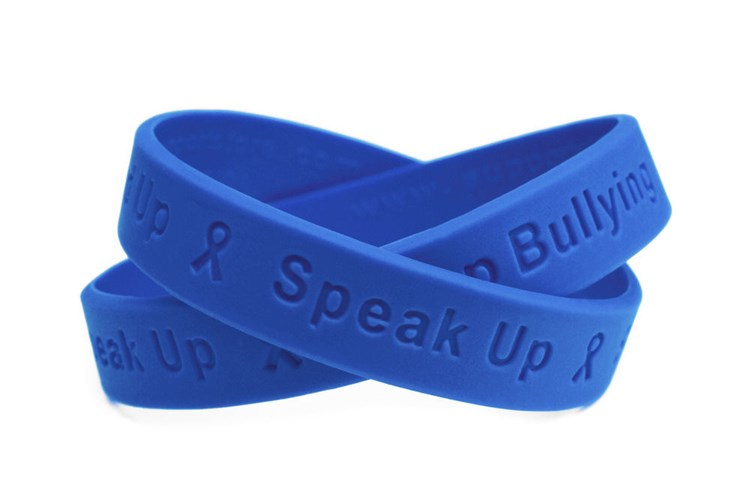 """""""Stand Up - Speak Up - Stop Bullying""""  Blue Wristband - A..."""