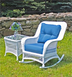 ALL WEATHER Wicker! Maintenance-free premium outdoor vinyl wicker. Framed on Aluminum Wicker Available in Crisp White or Rich Chocolate Brown Color Choose from over 100 designer outdoor fabrics! Ships in 4-5 weeks. _______________ Measurements Rocker: 35