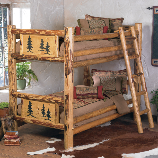 Rustic Beds Twin Over Rocky Mountain Log Bunk Bed Black Forest Decor
