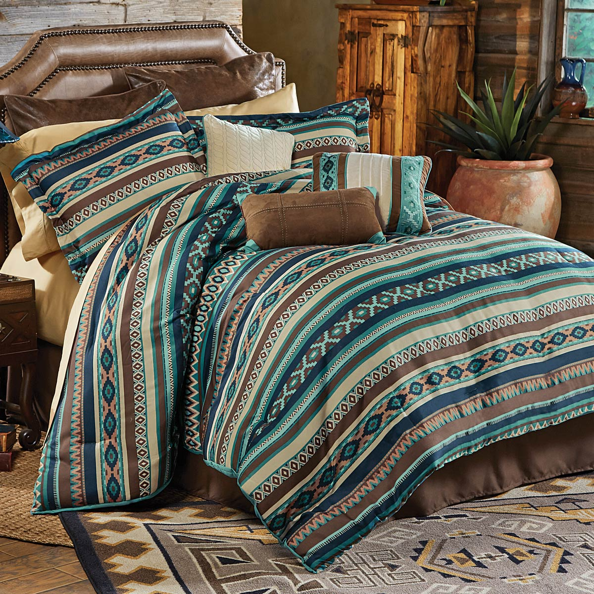Lone Star Western Decor Turquoise River Bed Set Cal King