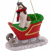 Springer Spaniel Sleigh Ride Christmas Ornament Liver White